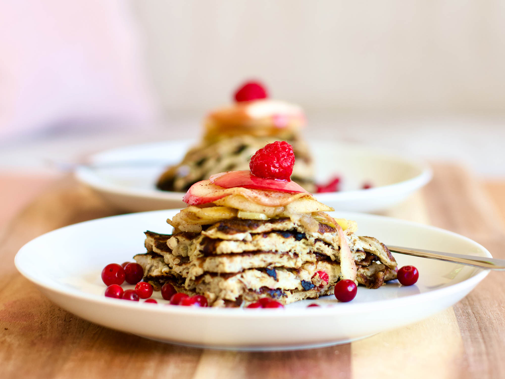 Easy Keto Pancakes with Apple Slices and Berries