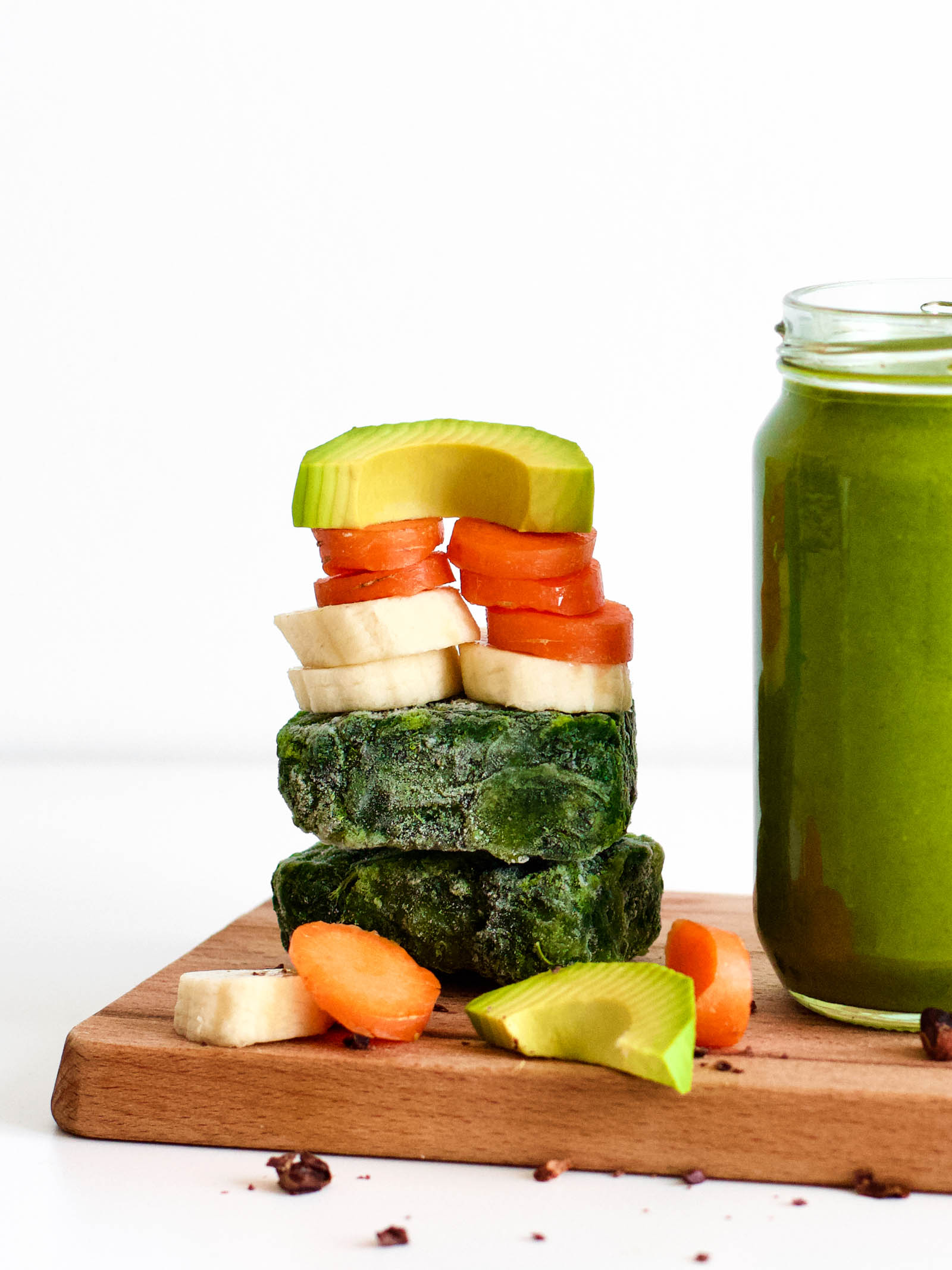 Stack of vegetables used in the 5 Ingredients Simple Green Smoothie recipe.