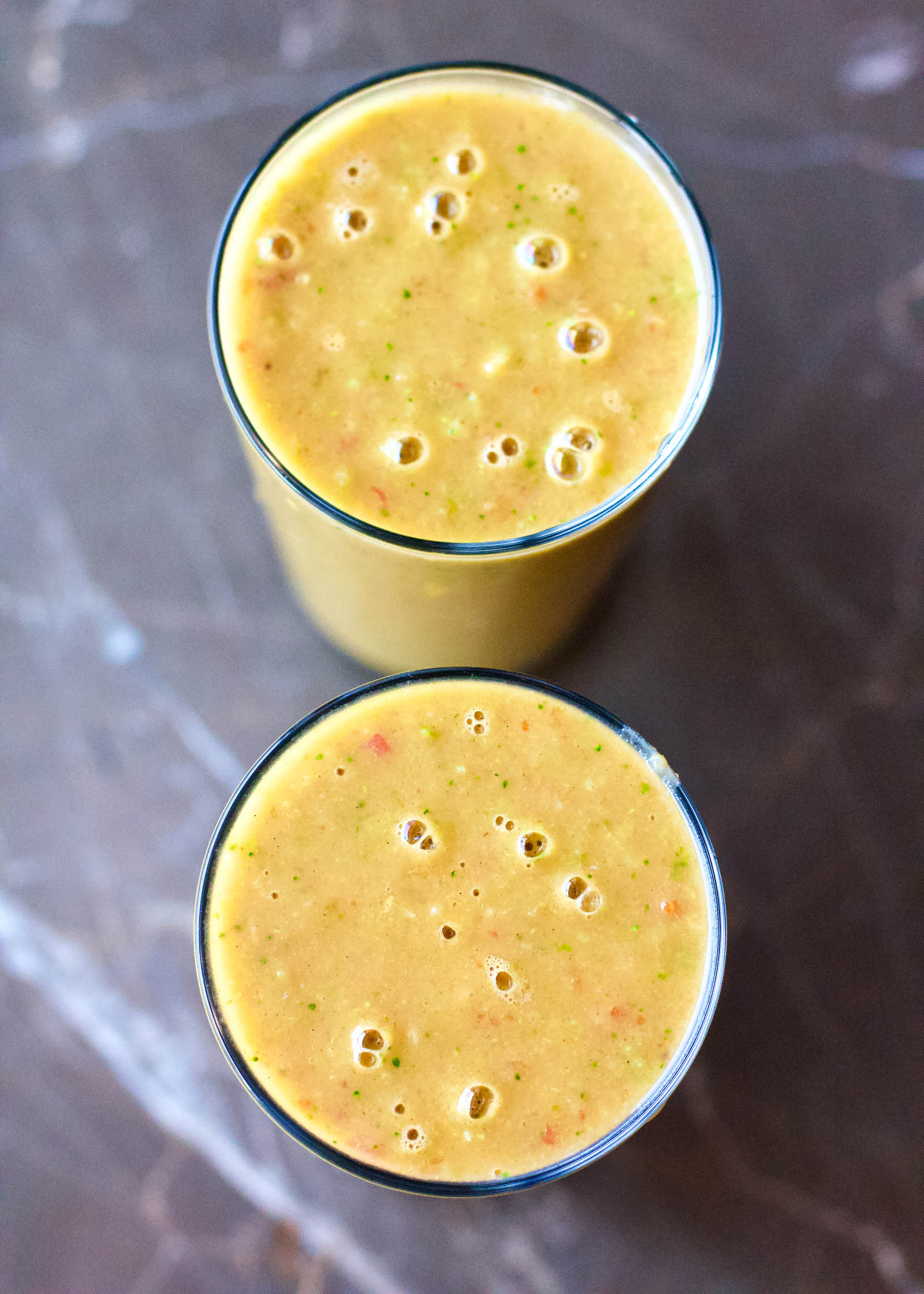 Two servings of Morning Sunshine Smoothie.