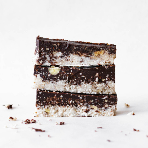 Stack of freshly made Coconut-Chocolate Keto Bars.