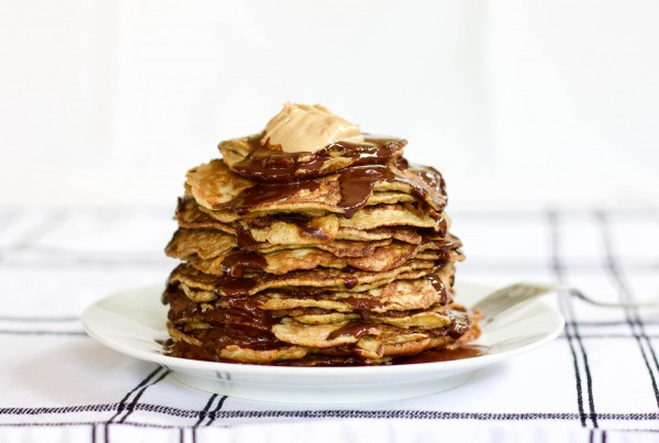 Stack of freshly made Low-Carb Pancakes with Chocolate and Cashew Butter.