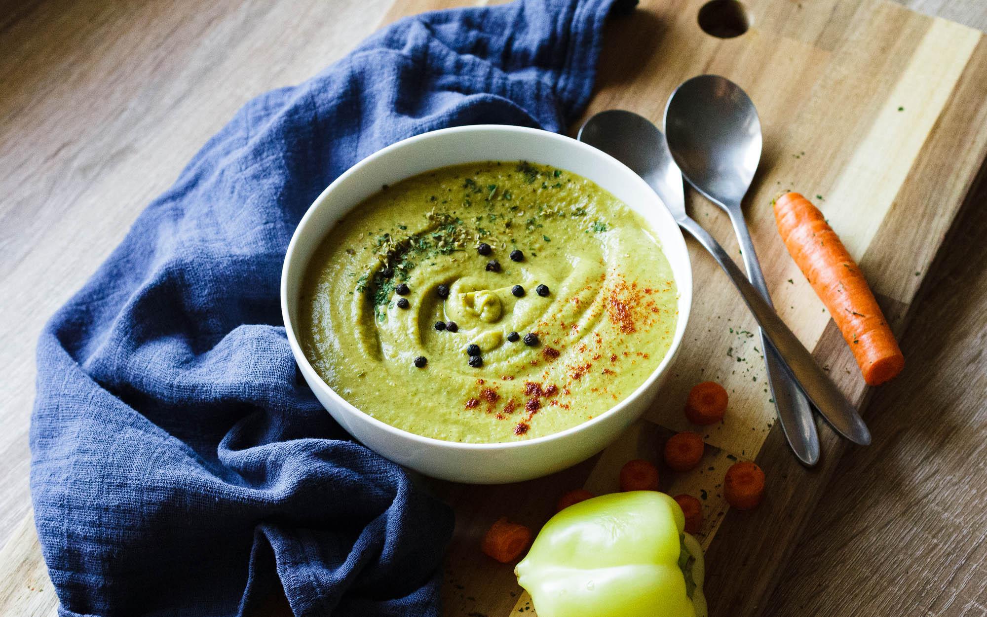 Cream of Green Vegetable Soup (Vegan)