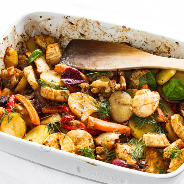 A tray of delicious roasted vegetables
