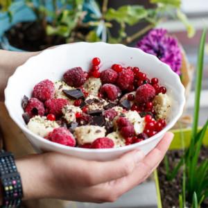 Bowl with Banana Berry Raw Vegan Dessert